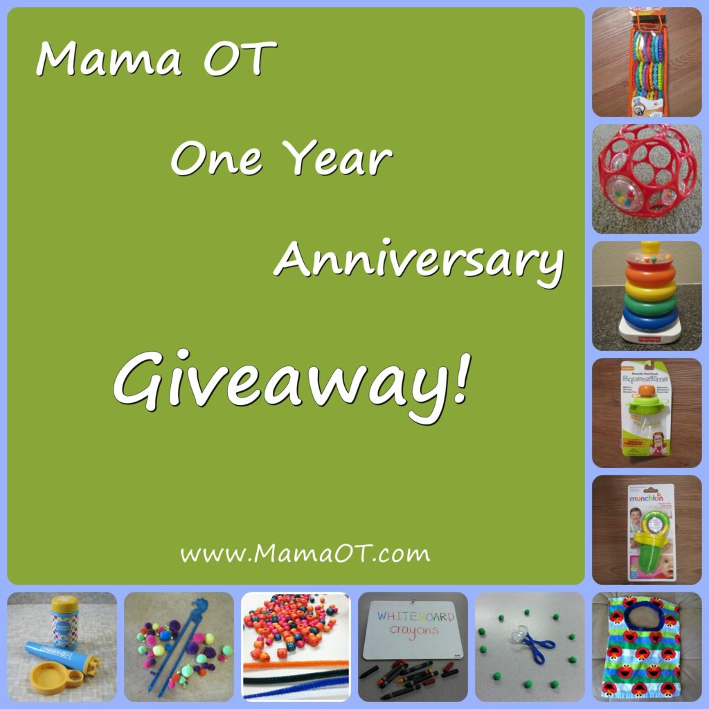 "Enter MamaOT.com's giveaway for a chance to win a ""Baby Pack"" or ""Big Kid Pack"". Entries valid through 12am Pacific Time on 3/26/13."