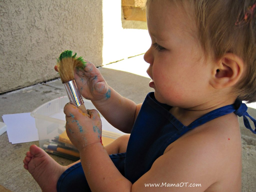 Homemade edible finger paint using only water, flour, and food coloring. Perfect for introducing little ones to messy play and basic art.