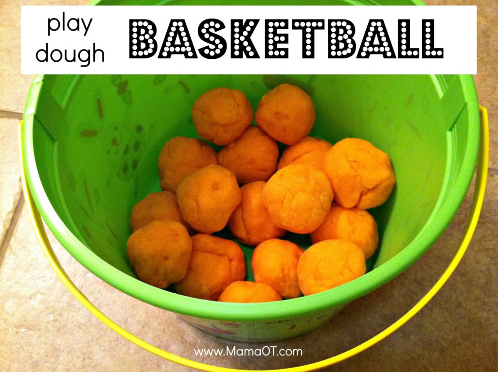 Orange play dough basketball text